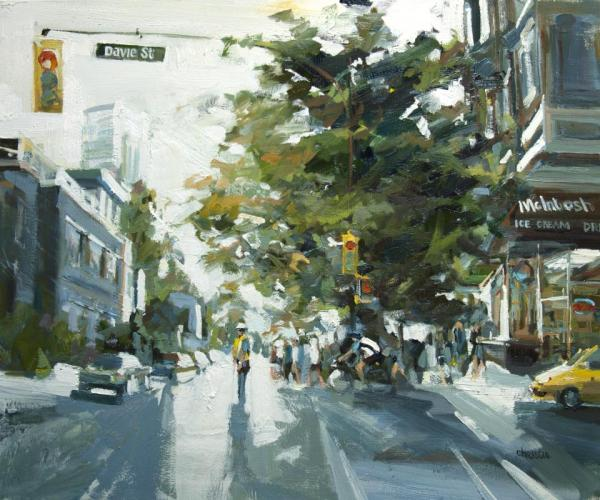 Leanne M Christie evening painting of police officer in the middle of an urban street