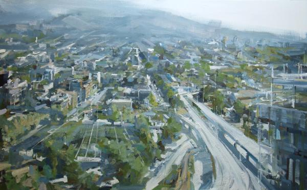 Urban oil painting from high up of Viaducts