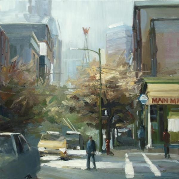 Early urban oil painting by Leanne M Christie