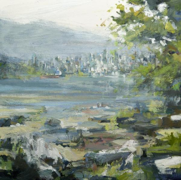 City painting with mountains and water by oil painter Christie
