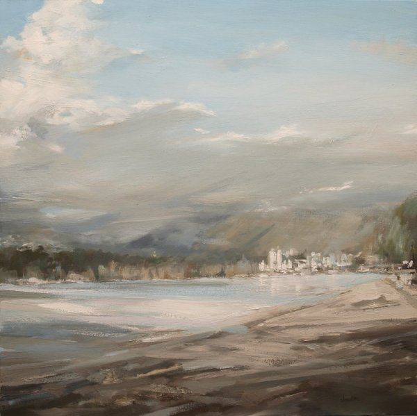 Leanne M Christie early oil painting of city, water and mountains