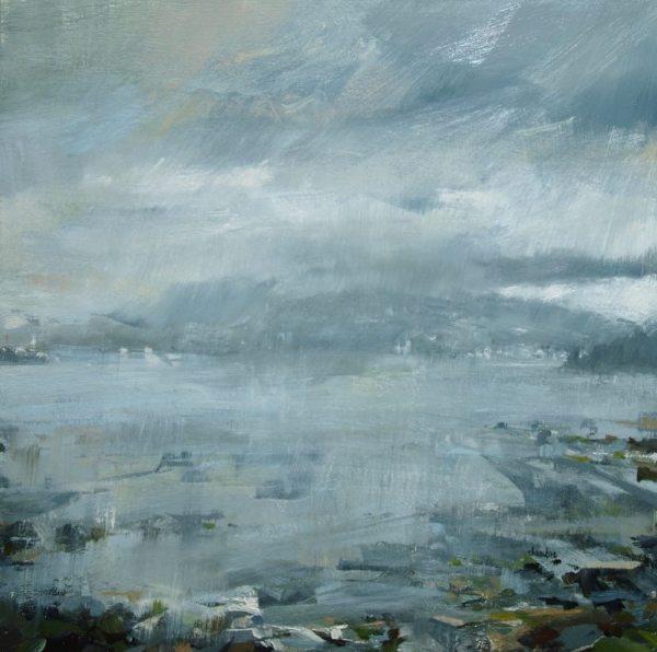 A rainy coastal scene painted by Leanne M Christie