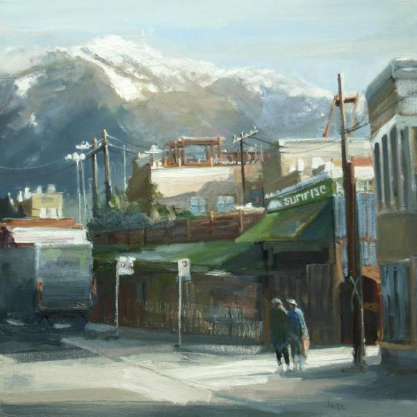 Leanne M Christie oil painting of sunrise market with people on street