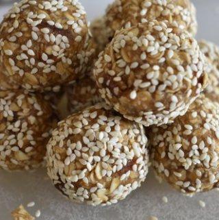 maple tahini oatmeal balls