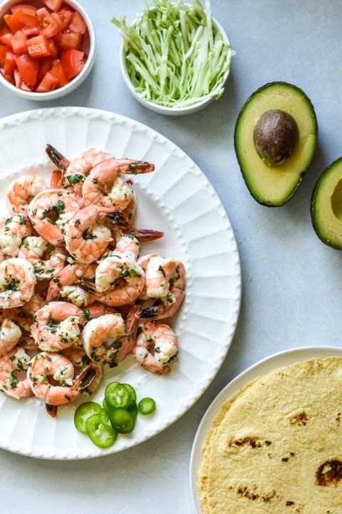 plate of cilantro lime shrimp