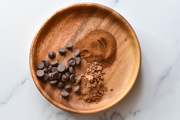 instant espresso powder and chocolate on a plate