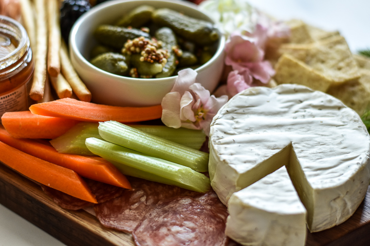 brie cheese, vegetables, pickles