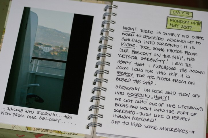 Travel Journal Pages Daily Writings with Photographs Balcony Handwritten Notes
