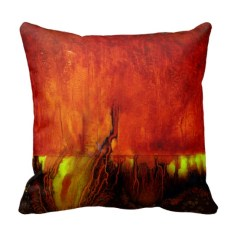 "Designer 2 sided Pillow, Side B, Vibrant RED ""Traveling in Time"""