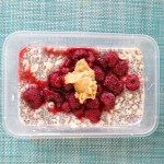 Overnight oats with raspberry, chia & PB