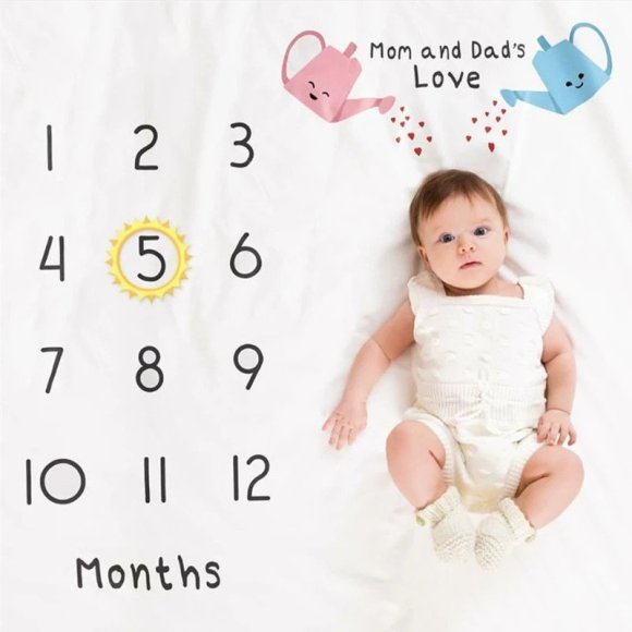 Mom and Dad's Love Print Baby Milestone Blanket Photography Background Prop