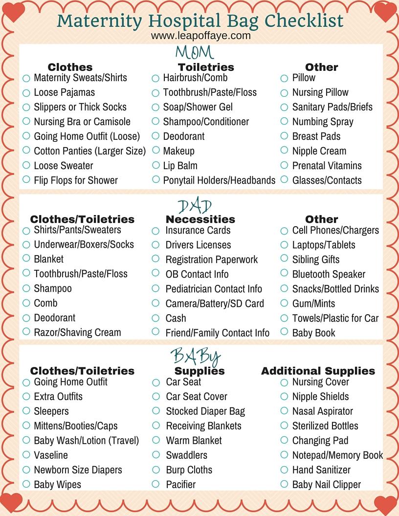 maternity hospital bag checklist mom dad baby