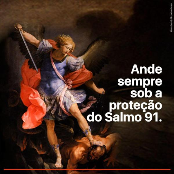 Imagem de São Miguel Arcanjo vencendo as forças do Mal, assim como o Salmo 91 nos protege e fortalece.