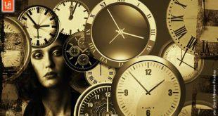 mulher atrás de relógios de todos os tipos mostrando que o passado não passou