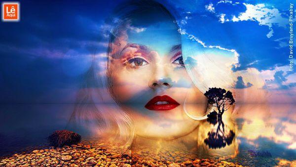 Rosto de mulher sobreposto dissolvido com um lago sereno inspirando sentir paz