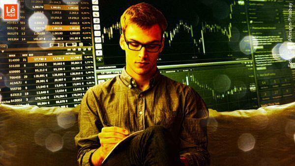 Rapaz de óculos com gráficos de investimentos no fundo fazendo exercício para atrair prosperidade