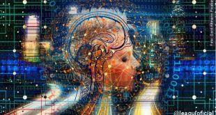 Ilustração de uma cabeça feminina com sobreposições de imagens diversas representando pensamentos bem-estar
