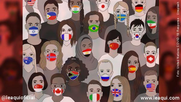 ilustração e diverso rostos com mascaras onde cada uma possui uma bandeira de um país Dalai Lama lidar ansiedade