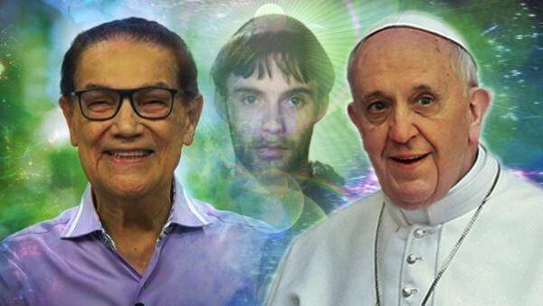 composição fotográfica com as imagens de Divaldo Franco São Francisco e o Papa Francisco o médium o Papa o Santo