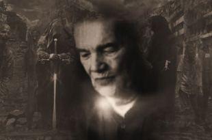 montagem fotográfica com Divaldo Franco em destaque no centro da tendo ao fundo figuras de obsessores espíritos atacaram Divaldo Franco