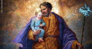 pintura com São José Carregando menino Jesus no colo Dia dos Pais Oração São José