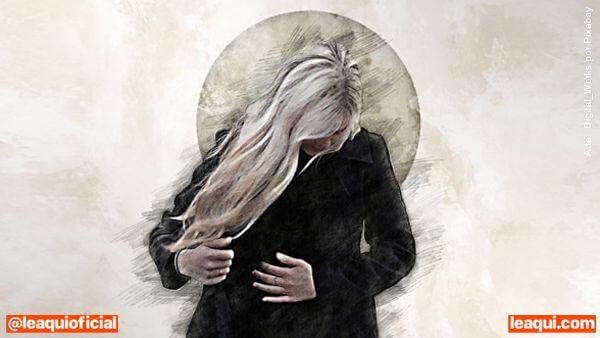 ilustração de uma mãe com a cabeça baixa consolo mãe de suicida