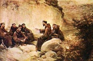 ilustração de são Francisco falando com seus discípulos no campo perdão de São Francisco