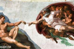 reprodução do afresco da capela sistina criação de adão divino desejo de amor