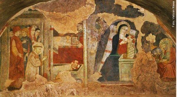 Afresco do Presépio de Greccio - primeiro presépio de São Francisco de Assis jesus nasceu