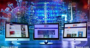 montagem fotográfica com 3 monitores de computador com páginas do site balanço 2020