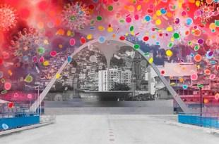 montagem iconográfica simbólica onde se sobrepões a imagem do sambódromo do Rio de Janeiro com as cepas do coronavirus flutuando ao fundo enquanto confetes caem não carnaval