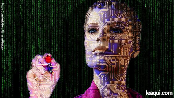 ilustração com fundo de letras verdes com efeito Matrix e afrente ilustração de mulher com desenhos de circuito impresso de computador sistema de crenças