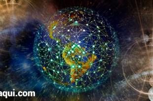 ilustração fotográfica com o globo terrestre cercado por campos de energia quântica bem reinará na Terra