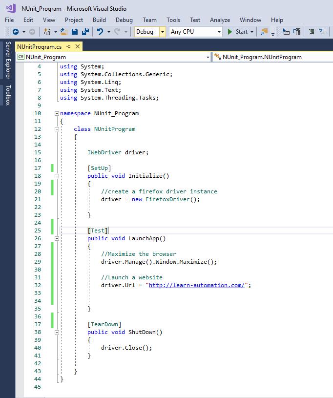 How To Create Selenium Test using NUnit Framework