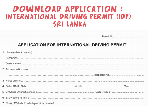 Download Application : International Driving Permit (IDP) Sri Lanka