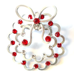 Christmas Wreath Brooch Silver Rich Reds