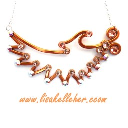 Angel Wing Necklace Copper Sunset