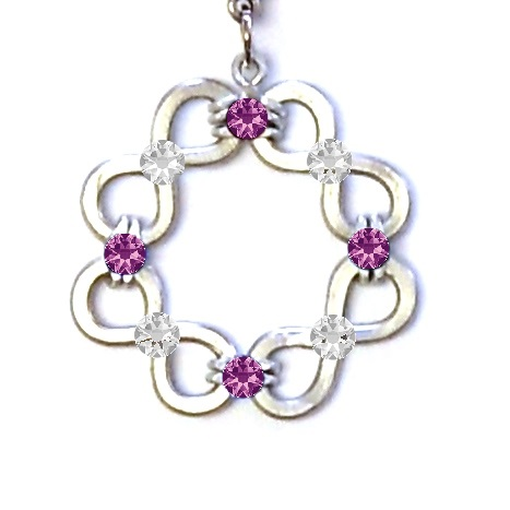 Celtic Knot Infinity Circle Pendant Silver Amethyst