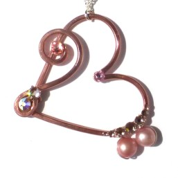 Heart Treble Bass Clef Pendant Rose Gold