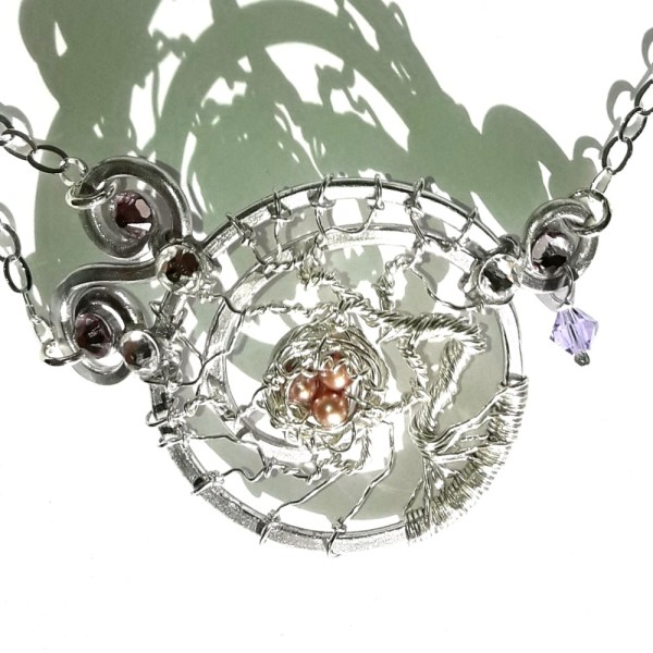 Tree of Life Bird's Nest Bracelet Silver Alexandrite Peacock Pearl Eggs