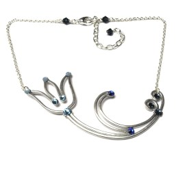 Tulip Necklace Silver Blue Morpho