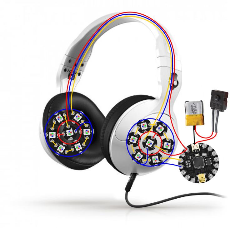 Circuit Diagram | Glowing Skullcandy Headphones Mod