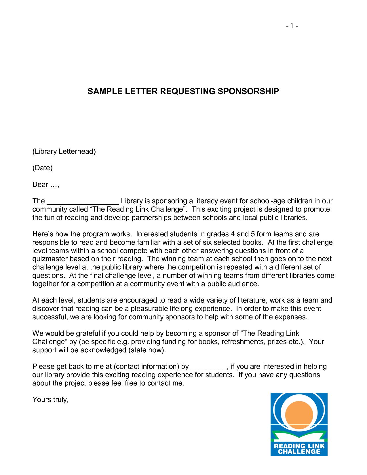 charity letter sample