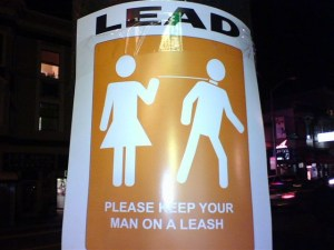man on leash