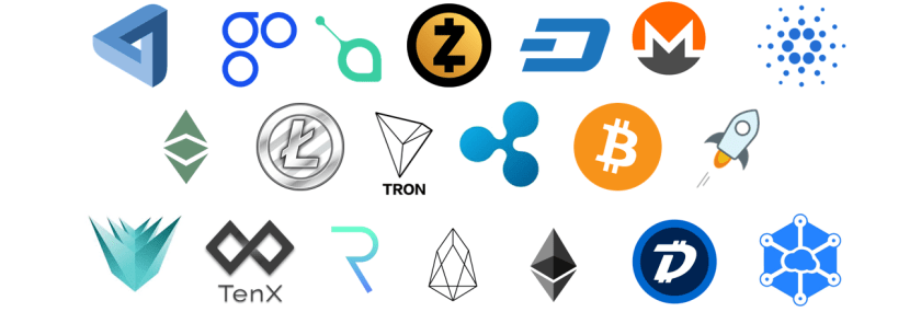 20 cryptocurrency icons infront of white background