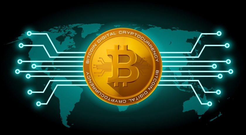 bitcoin image with world map and black background