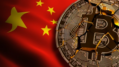 Shattered Bitcoin in front of a Chinese flag