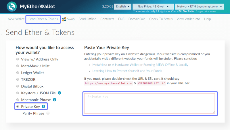 my ether wallet screenshot with private key highlighted