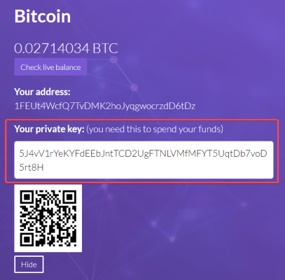 private key screenshot from Easy Crypto website
