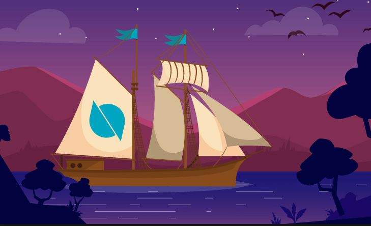 ontology ship cartoon with red mountains and purple waters with trees in front and birds